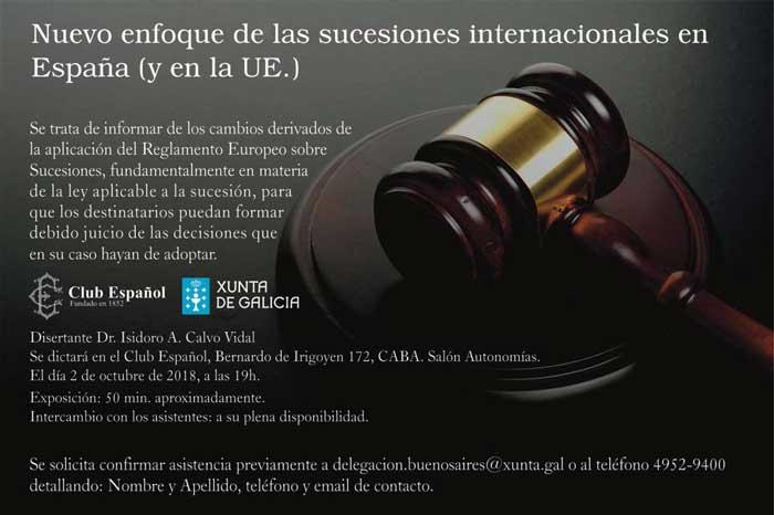 Charla sobre el nuevo enfoque de las Sucesiones Internacionales en España y en la Unión Europea
